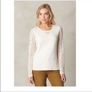 PRANA DARLA ORG COTTON BLEND TOP W/LACE SLEEVES- L